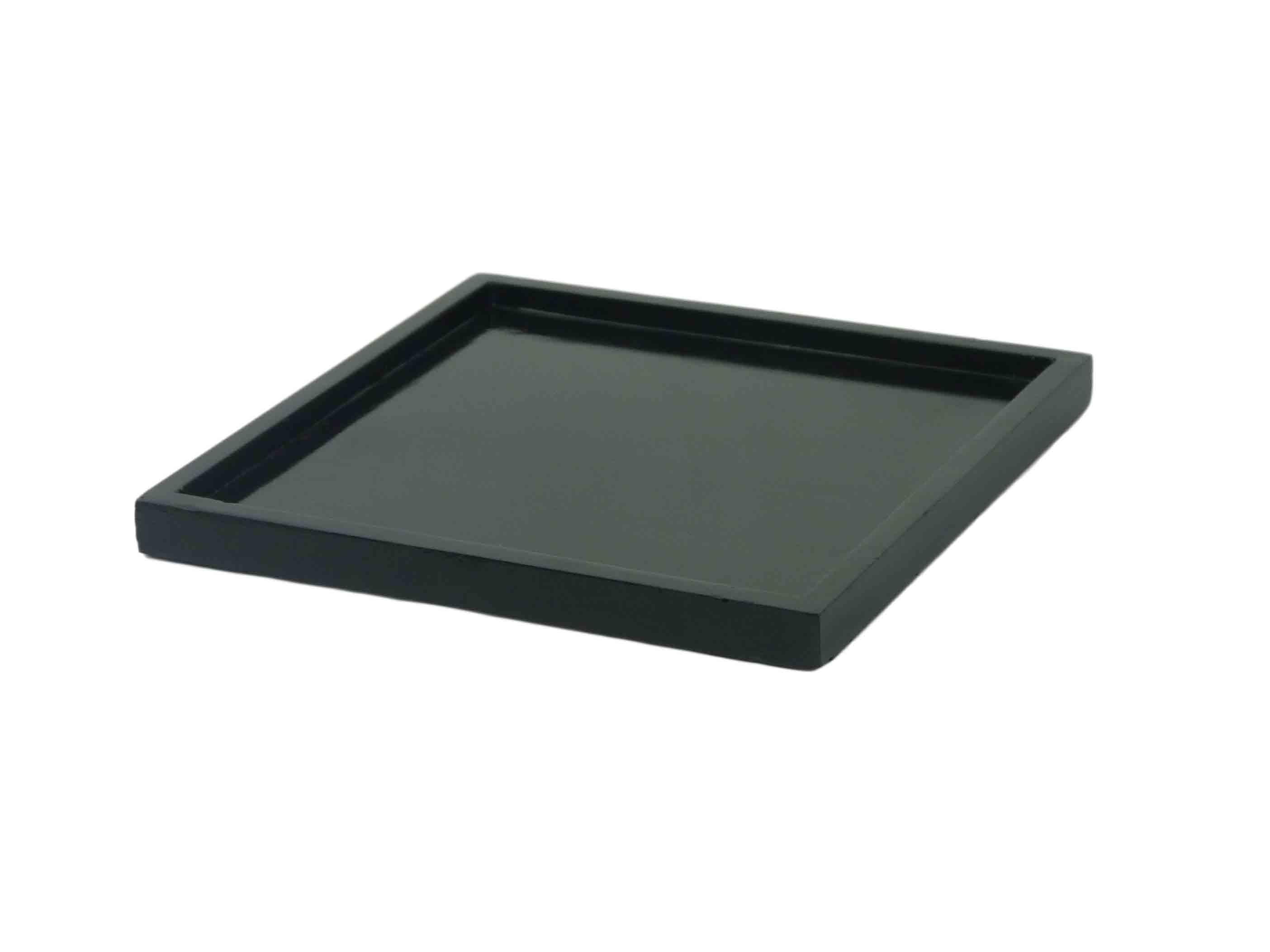 Holztablett schwarz 25x25 cm tablett kerzentablett dekotablett deko shabby - Deko tablett schwarz ...