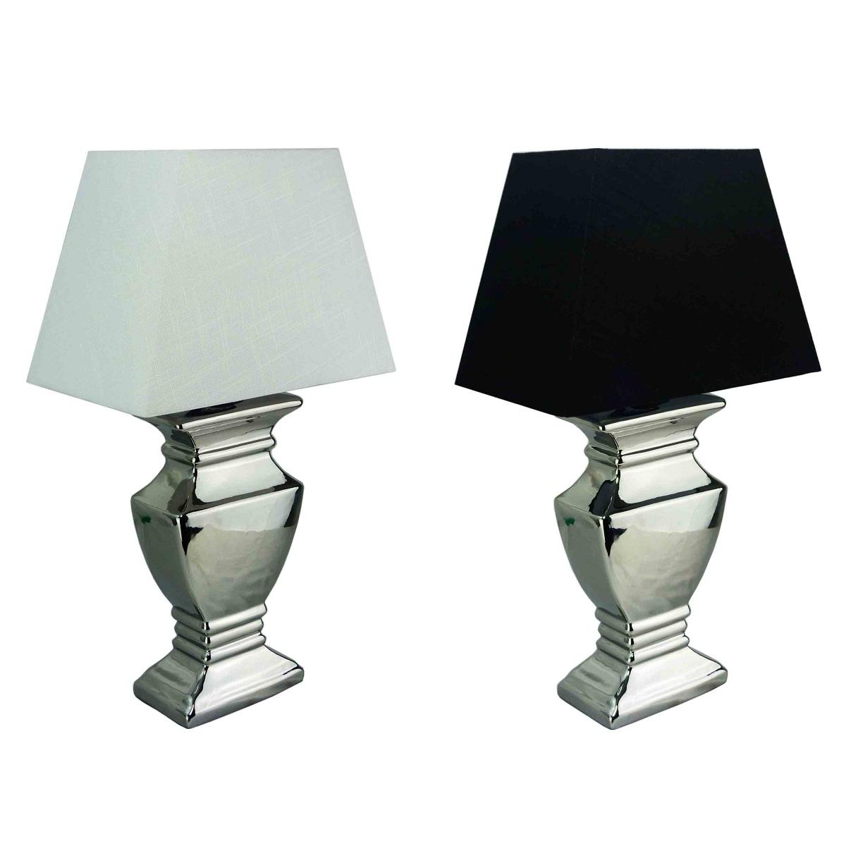 tischlampe 59 cm silber keramik nachttischlampe shabby leuchte tischleuchte ebay. Black Bedroom Furniture Sets. Home Design Ideas