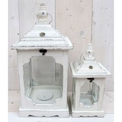 laterne 2 farben 2 gr en shabby chic landhaus holz kerzenhalter windlicht ebay. Black Bedroom Furniture Sets. Home Design Ideas