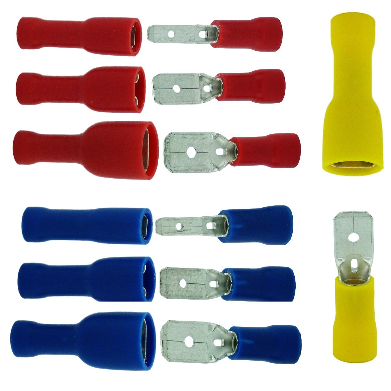 Flachsteckhülsen Blau 0,8x4,75mm 50 Stück für Kabel 1,5-2,5mm²  Kabelschuhe