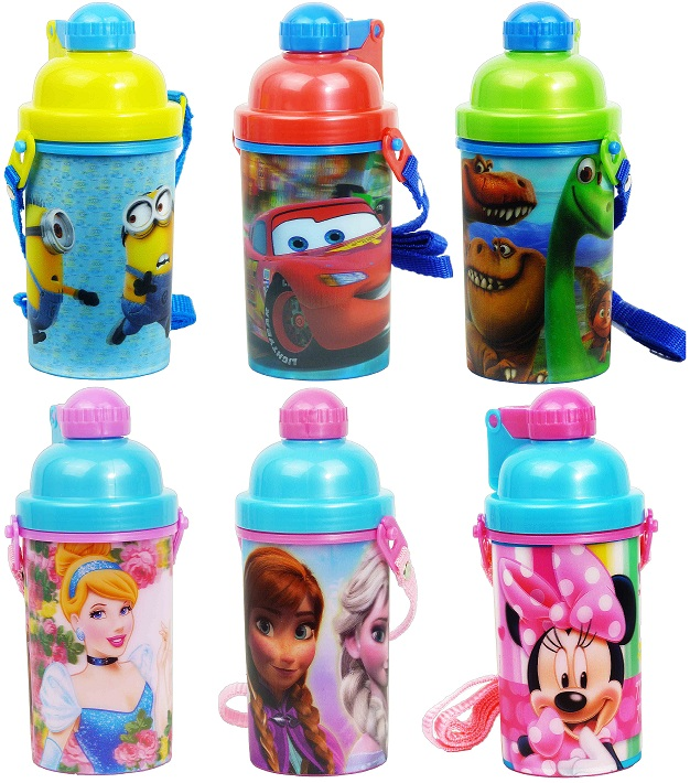 3D Kinderflasche Strohhalm Trinkbecher Frozen Minions Cars Minnie Prinzessin