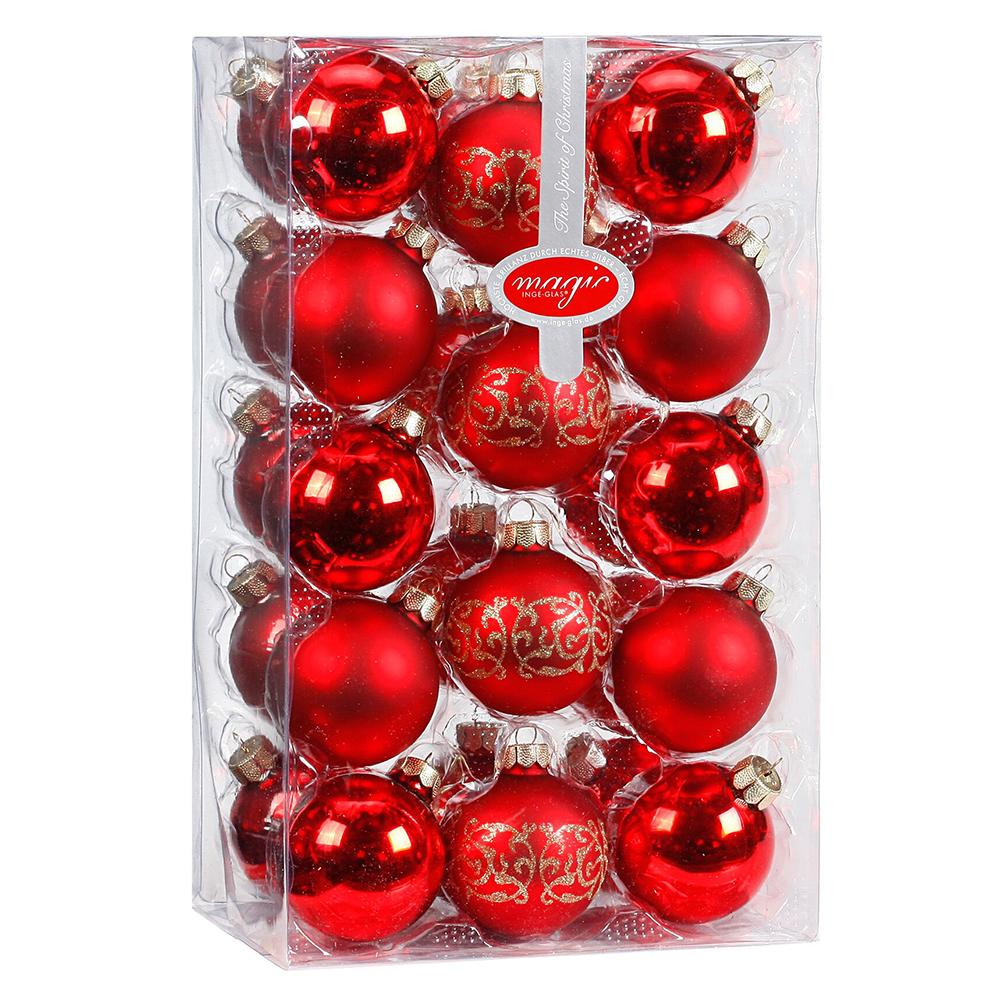 28er 56er glas kugeln 6cm weihnachtskugeln rot glanz matt baumschmuck weihnach ebay. Black Bedroom Furniture Sets. Home Design Ideas
